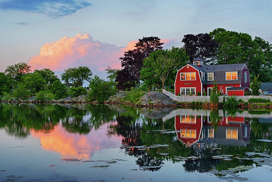 Sunset on Redds Pond Marblehead Ma red clouds by Toby McGuire