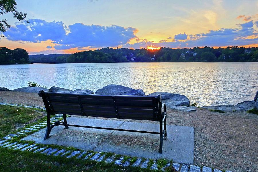 Sunset on Spy Pond Arlington MA Bench Photograph by Toby McGuire