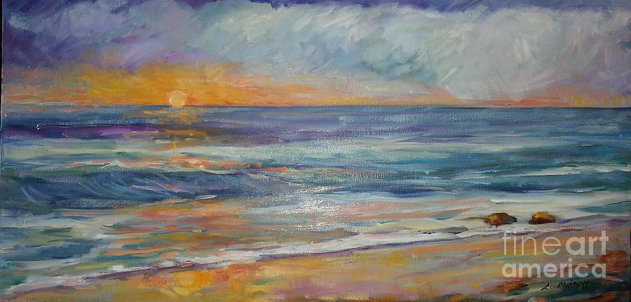 Sunset On The Beach Painting - Sunset On The Beach by Lisa McKnett