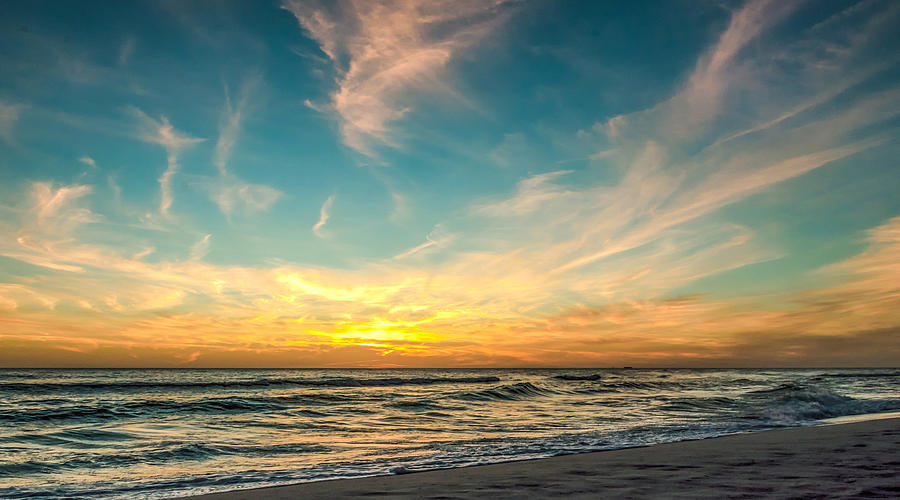 Sunset Photograph - Sunset On The Beach by Phillip Burrow