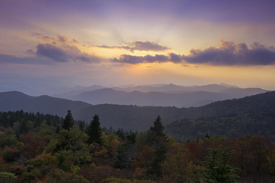 Sunset Photograph - Sunset On The Blue Ridge Parkway by Rob Travis