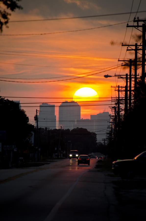 Setting Sun Photograph - Sunset On The City by Carolyn Marshall