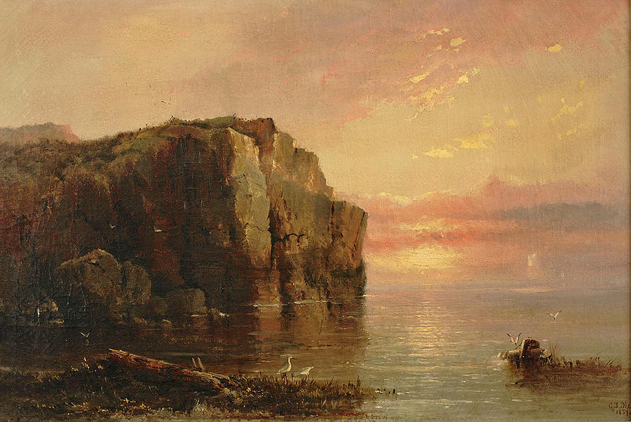 Canvas Prints Painting - Sunset On The Coast by Charles Temple Dix