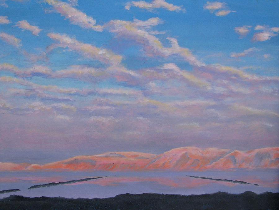 Sunset Painting - Sunset On The Dead Sea In Israel by Art Nomad Sandra  Hansen