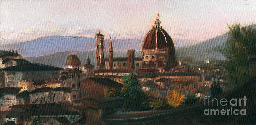 Florence Painting - Sunset On The Duomo by Leah Wiedemer