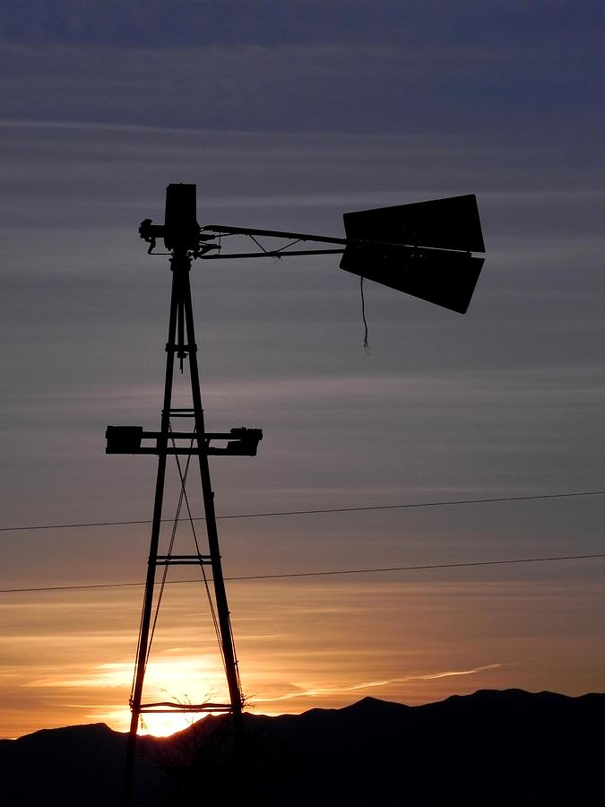 Windmill Photograph - Sunset on the Farm by Adrienne Petterson