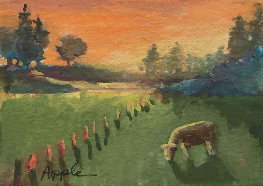 Cows Painting - Sunset On The Farm by Linda Apple