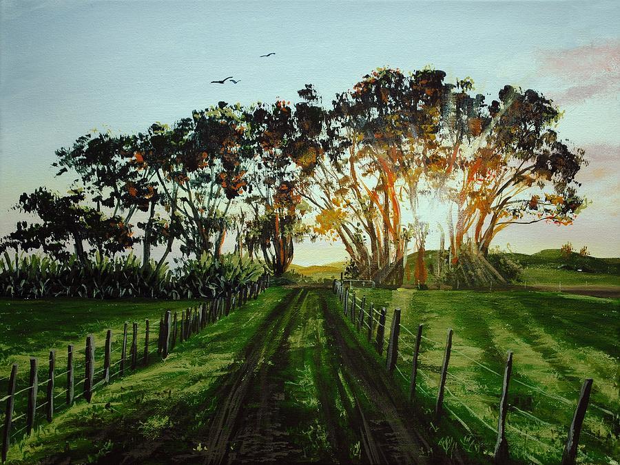 Acrylic Painting - Sunset On The Farm by Nolan Clark