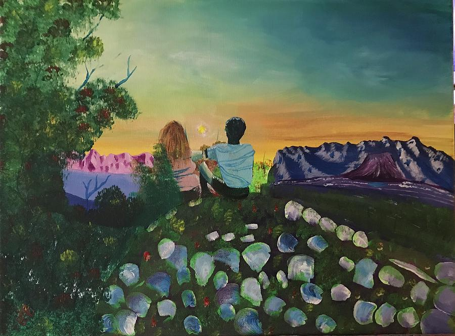 Sunset Painting - Sunset on the hill by Brandy Vasquez