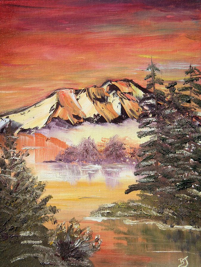 Landscape Painting - Sunset on the Lake by Beverly Johnson