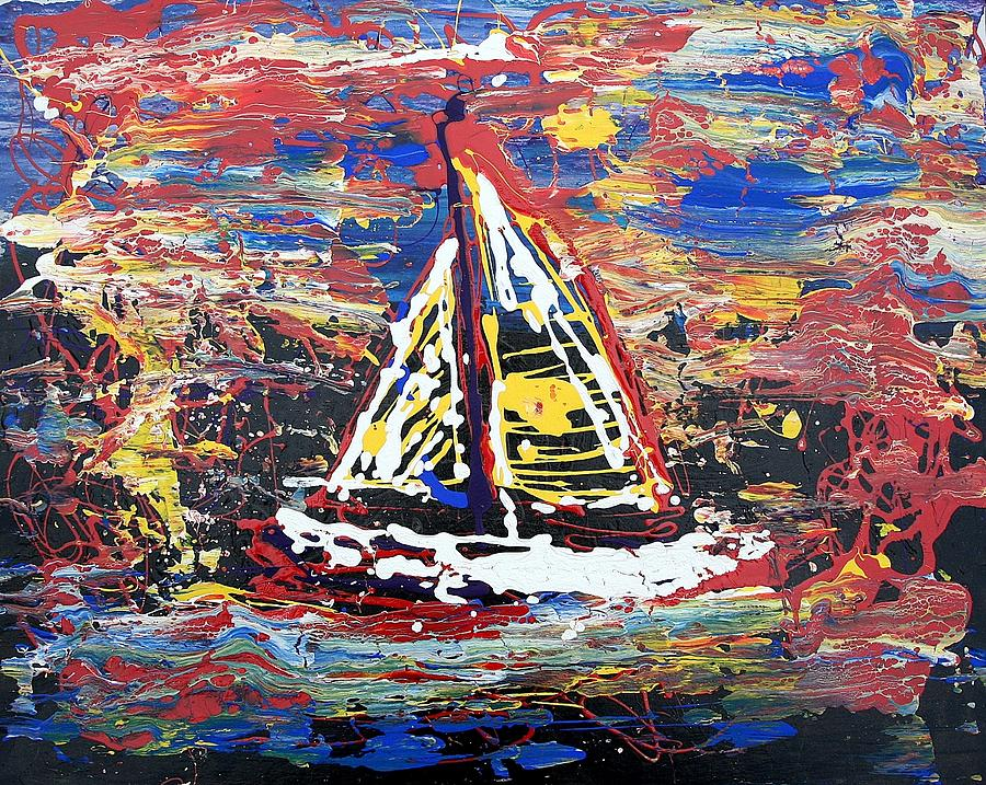 Sailboat Painting - Sunset On The Lake by J R Seymour