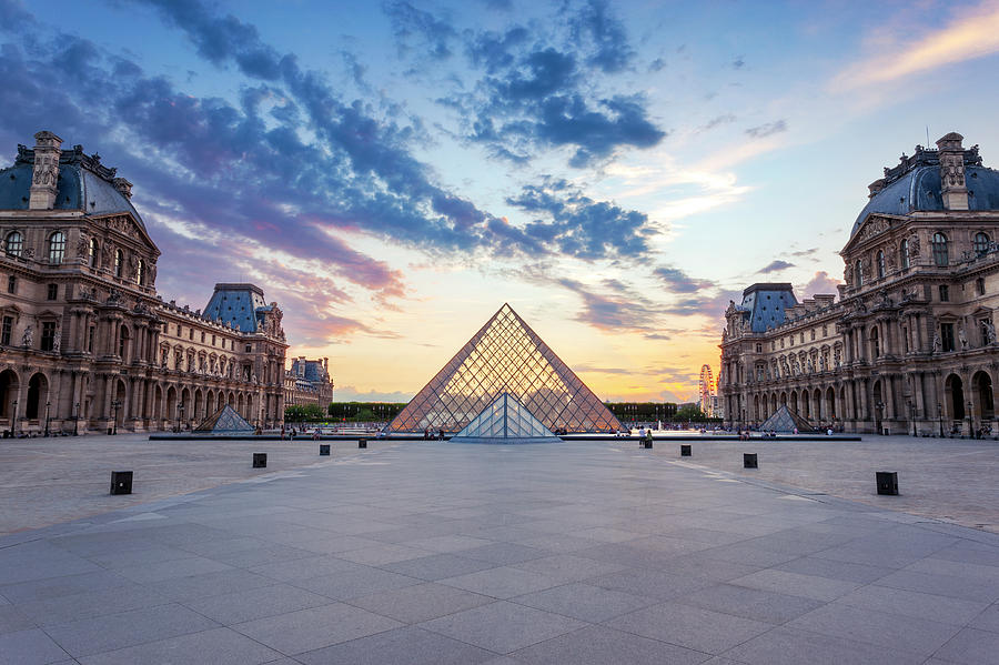 Louvre Photograph - Sunset On The Louvre by Lorrie Joaus