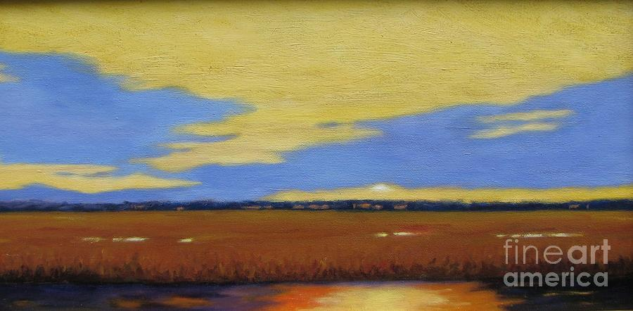 Sunset Painting - Sunset On The Marsh by Laura Roberts