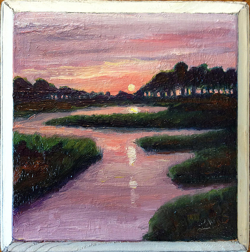 Oil Painting Painting - Sunset On The Marsh by Lisa Marie Dole Skinner