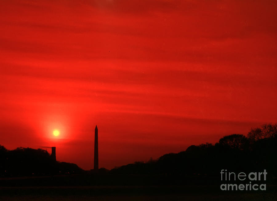 Red Photograph - Sunset On The National Mall Washington Dc by Thomas Marchessault