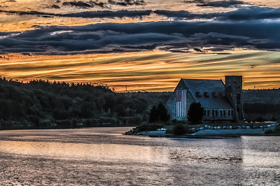 Landscape Photograph - Sunset on The Old Stone Church by Bob Bernier