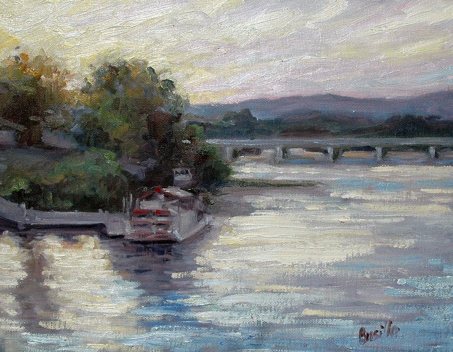 Susquehanna River Painting - Sunset on the Pride by Kathy Busillo