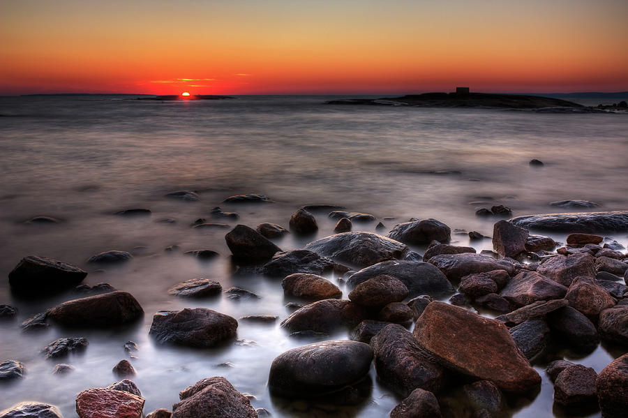 Sunset Photograph - Sunset On The Rocks by Brian Boudreau