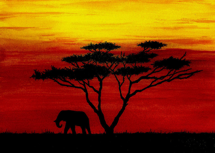 Africa Painting - Sunset on the Serengeti by Michael Vigliotti