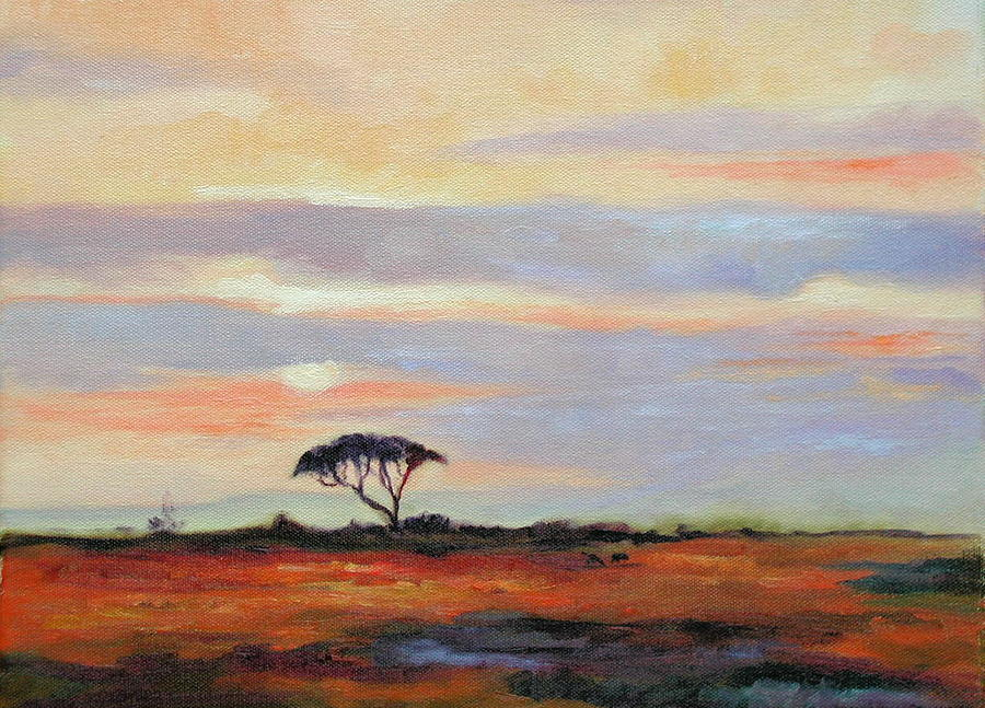 Landscape Painting - Sunset On The Serengheti by Ginger Concepcion