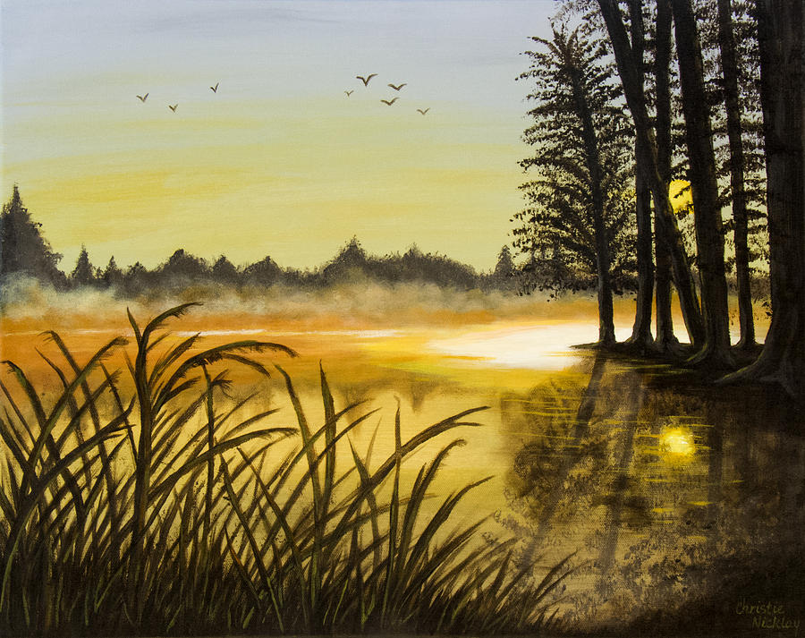 Landscape Painting - Sunset On The Water by Christie Nicklay