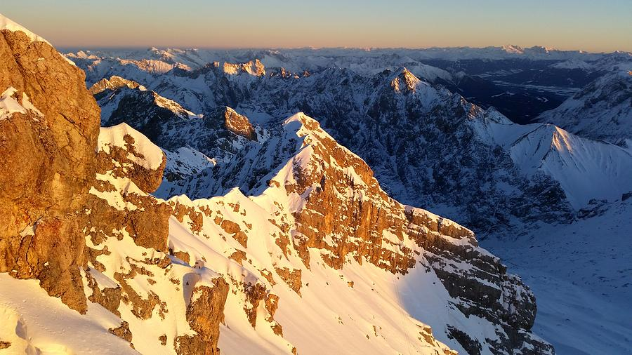 Zugspitze Photograph - Sunset on the Zugspitze by Two Small Potatoes