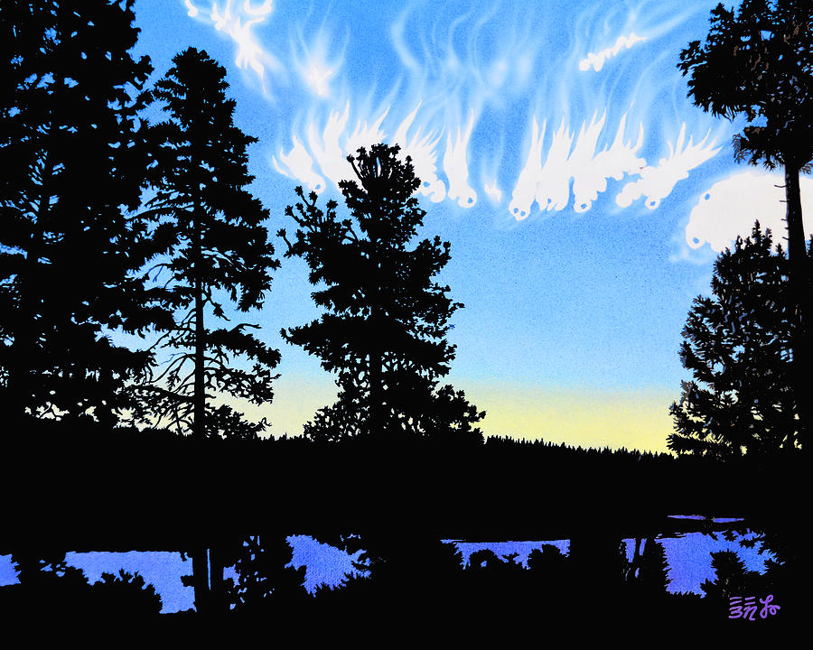 Oregon Painting - Sunset On Wickiup by Ebenlo - Painter Of Song