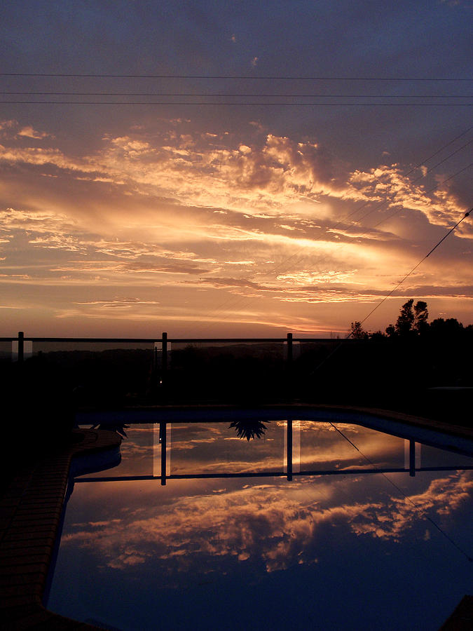 Pool Photograph - Sunset Over A Pool by Edan Chapman