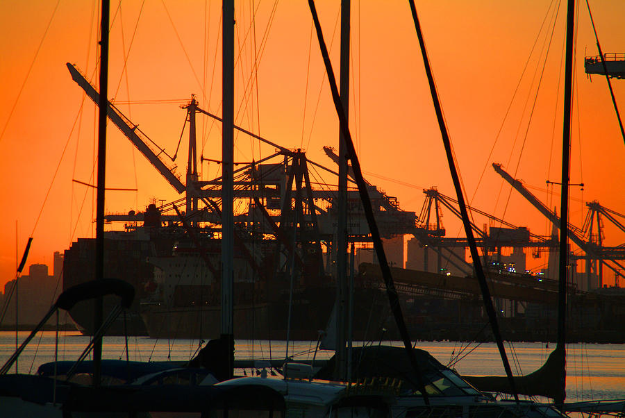 Sunset Photograph - Sunset Over Alameda Harbor by Charles  Ridgway