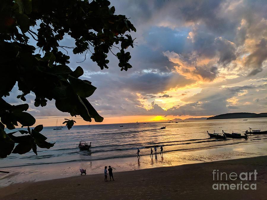 Sunset Photograph - Sunset Over Ao Nang Beach Thailand by Nicholas Braman