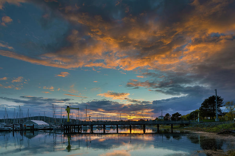 Sunset Photograph - Sunset Over Boat Ramp At Anacortes Marina by David Gn