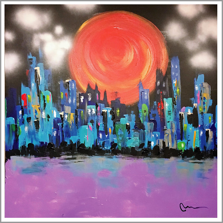 Cityscape Painting - Sunset Over Capital Square by Mac Worthington