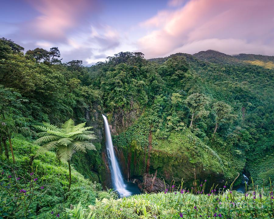 Sunset Over Catarata Del Toro Waterfall Costa Rica