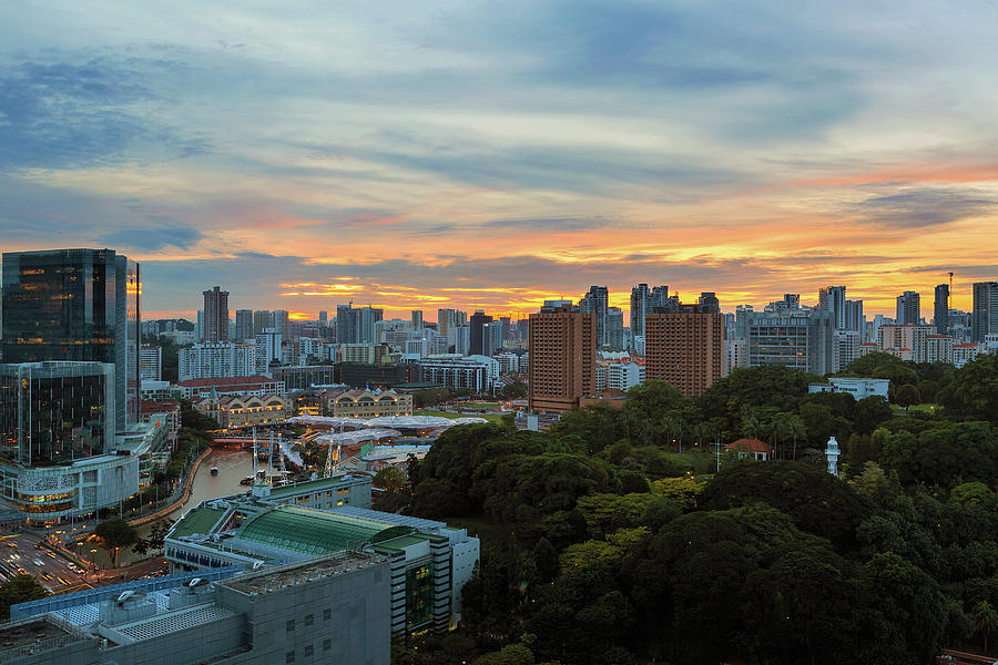 Sunset Photograph - Sunset Over Clarke Quay And Fort Canning Park by David Gn