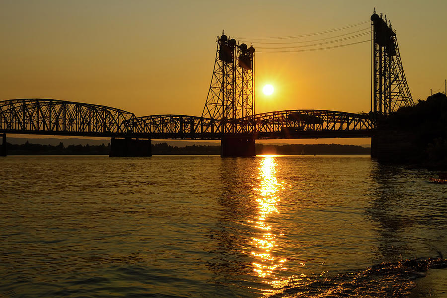 I-5 Photograph - Sunset Over Columbia Crossing I-5 Bridge by David Gn