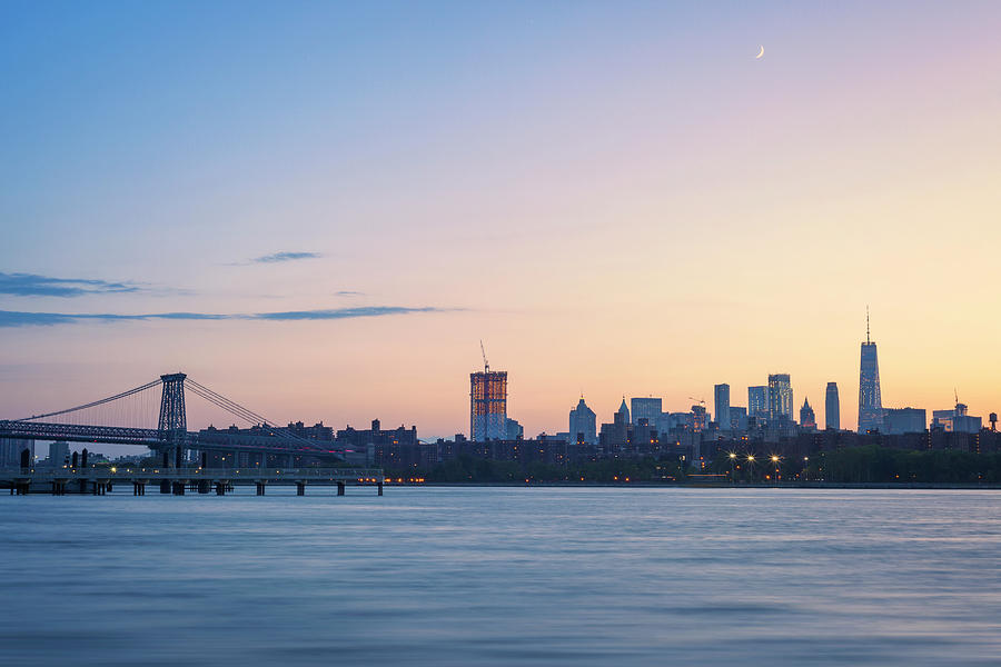Sunset Photograph - Sunset Over Downtown Manhattan by Lorrie Joaus