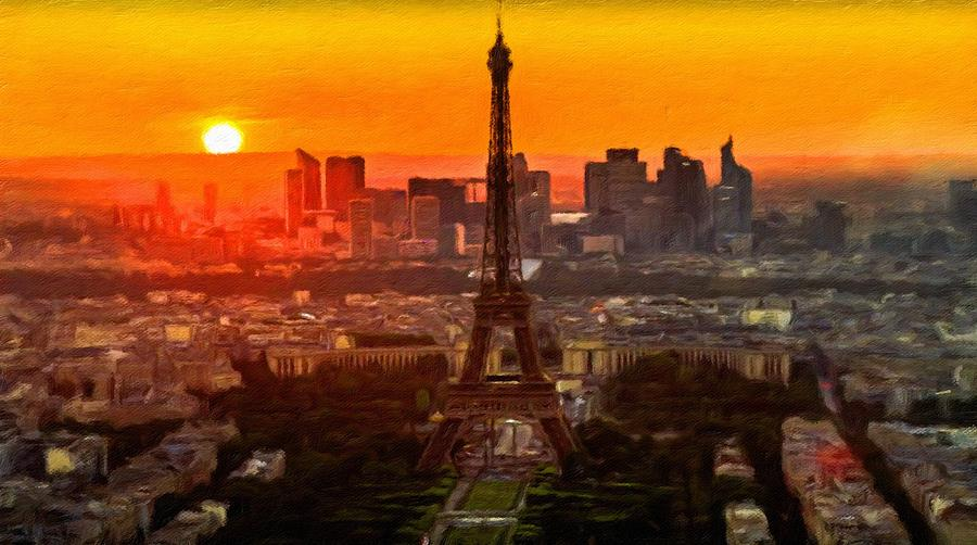 Eiffel Tower Painting - Sunset Over Eiffel Tower by Vincent Monozlay