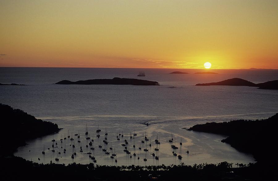 Buck Island Photograph - Sunset Over Great Cruz Bay by Don Kreuter
