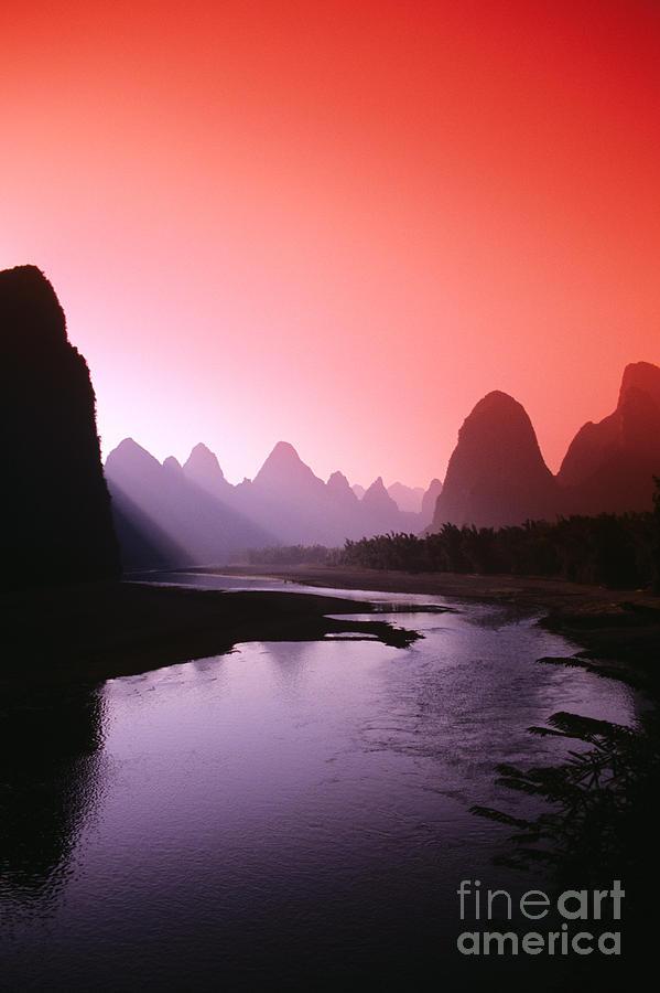 Bank Photograph - Sunset over Li River by Gloria & Richard Maschmeyer - Printscapes