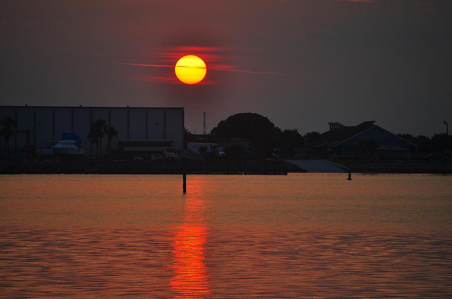Sunset Photograph - Sunset Over Marina by Len Barber