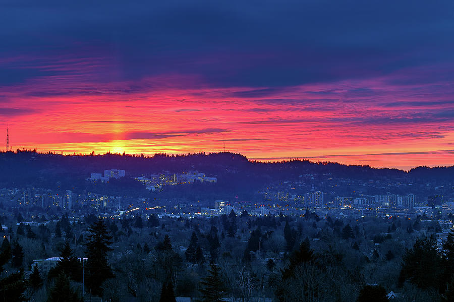 Sunset Photograph - Sunset Over Marquam Hill by David Gn