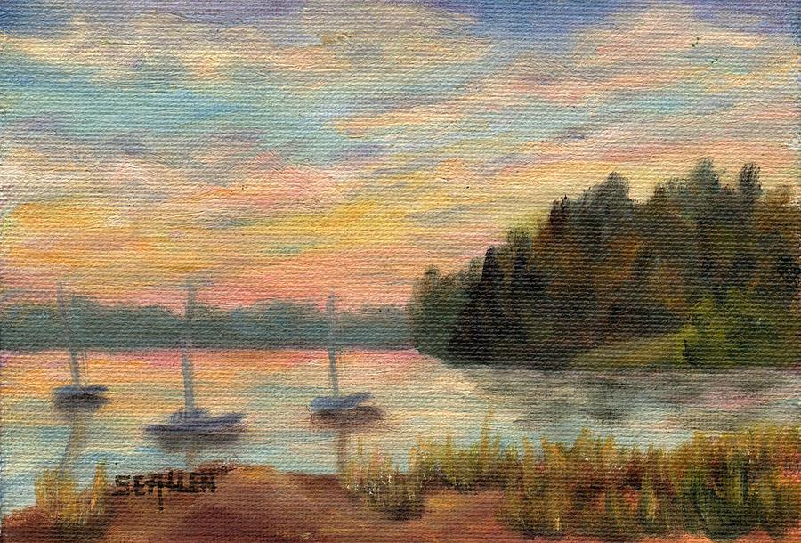 Sunset Painting - Sunset Over Massabessic by Sharon E Allen