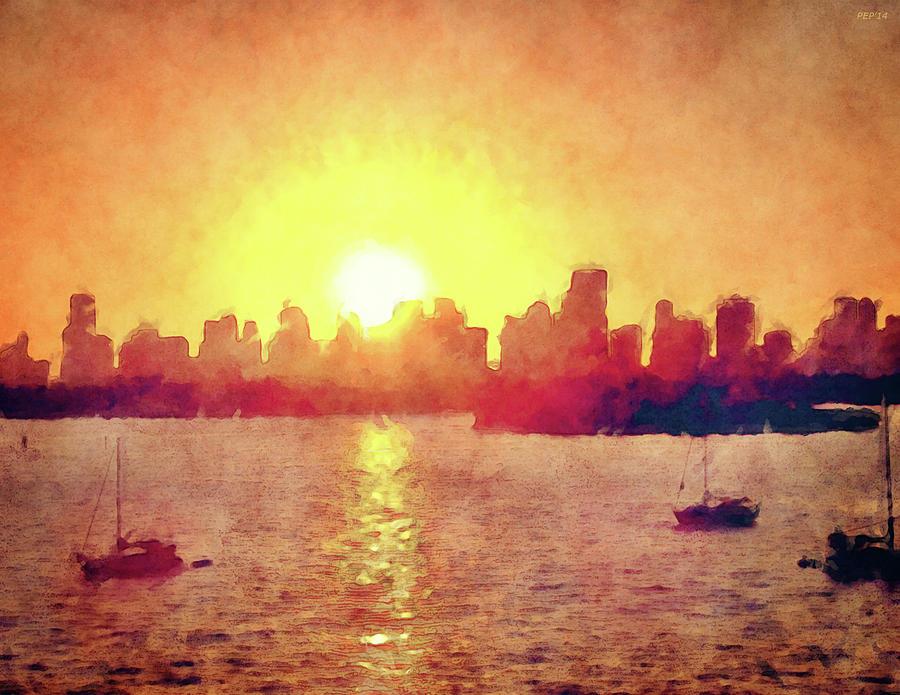 Sunset Digital Art - Sunset Over Miami Florida by Phil Perkins