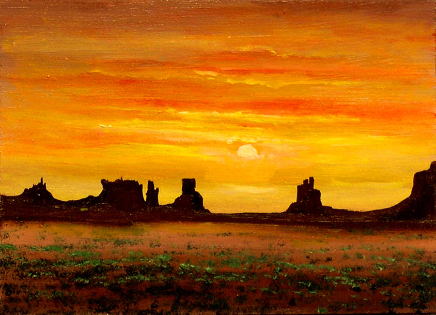 Sunset Over Monument Valley Painting By Connie Tom