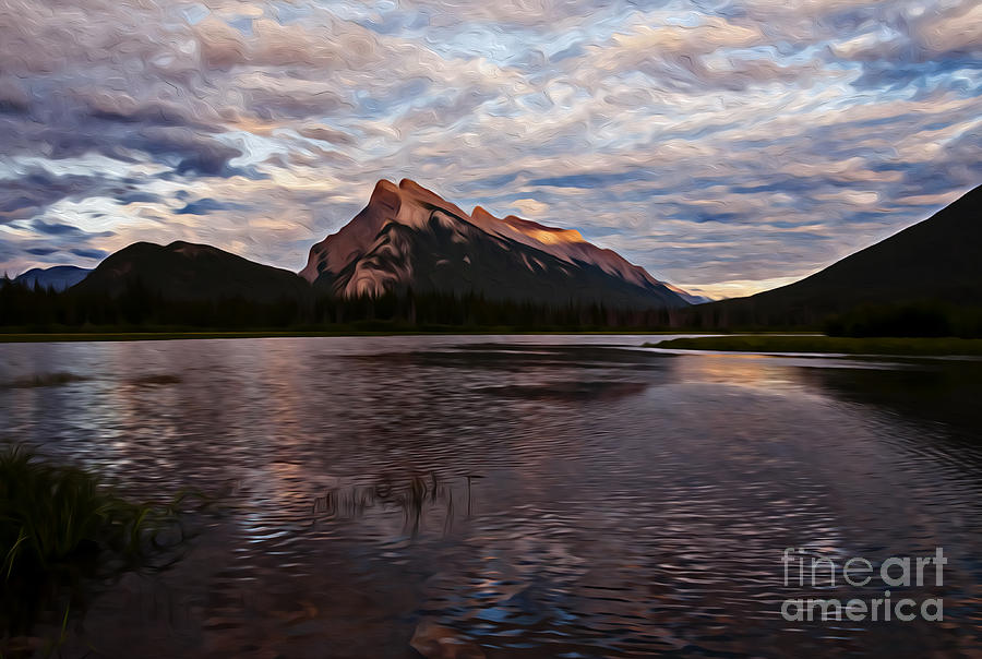 Sunset over Mount Rundle Photograph by Vivian Christopher