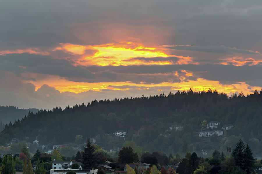 Sunset Photograph - Sunset over Mount Talbert in Happy Valley by David Gn