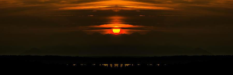 Sunset Over Mountains Reflection Digital Art