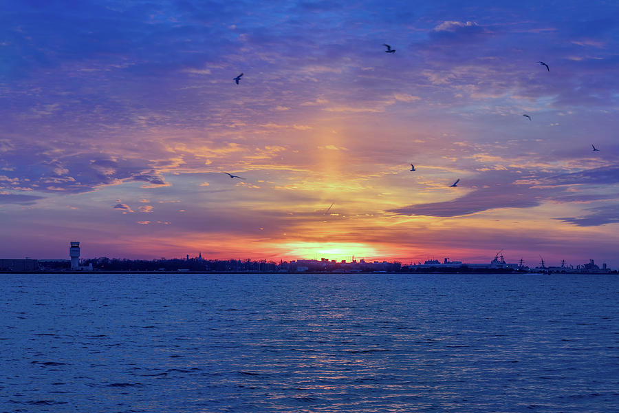 Sunset over Naval Base Norfolk by Brian Knight