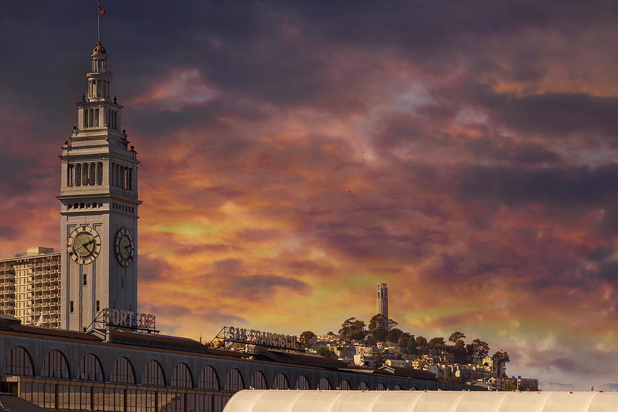 Ferry Photograph - Sunset Over Port Of San Francisco Ferry Building by David Gn