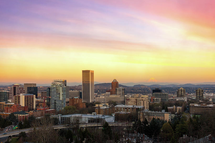 Portland Photograph - Sunset Over Portland Cityscape And Mt Hood by David Gn